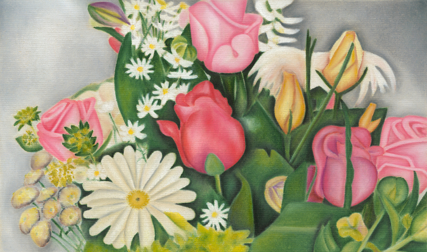 Wedding Table Flowers original pastel artwork